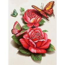 ДМ-327 Бабочки на розах. Алмазная Мозаика. Наборы со стразами.