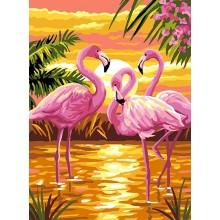 ДМ-334 Розовые фламинго. Алмазная Мозаика. Наборы со стразами.