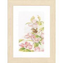 PN-0149990 Розовые цветы с маленькой птичкой. LanArte. Наборы для вышивания крестиком.