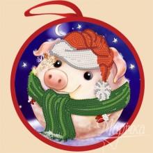 ИКБ-002 Елочная игрушка. Снежная свинка. Марічка. Схемы для вышивания бисером.