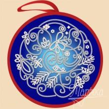 ИКБ-009 Елочная игрушка. Синий шар. Марічка. Схемы для вышивания бисером.