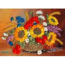 НЛ-3011 Корзина летних цветов. Марічка. Наборы для вышивания лентами.