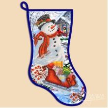 СН-2002 Новогодний сапожок ''Снеговик''. Марічка. Схемы для вышивания бисером.