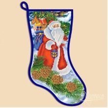 СН-2003 Новогодний сапожок ''Дед Мороз''. Марічка. Схемы для вышивания бисером.