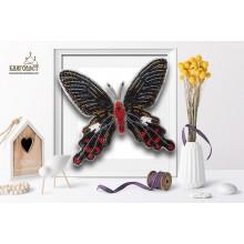 Б-037 3D Бабочка Atrophaneura Polyeuctes. Blagovest. Наборы для вышивания бисером.