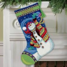 71-09143 Счастливый снеговик. Чулок. Dimensions. Наборы для гобеленовой вышивки.