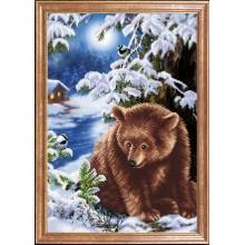 КС-100 Медведь под елкой. Магия канвы. Схемы для вышивания бисером.