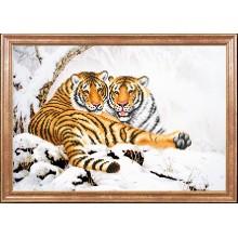 КС-103 Тигры зимой. Магия канвы. Схемы для вышивания бисером.