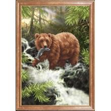 КС-114 Медведь с рыбой. Магия канвы. Схемы для вышивания бисером.
